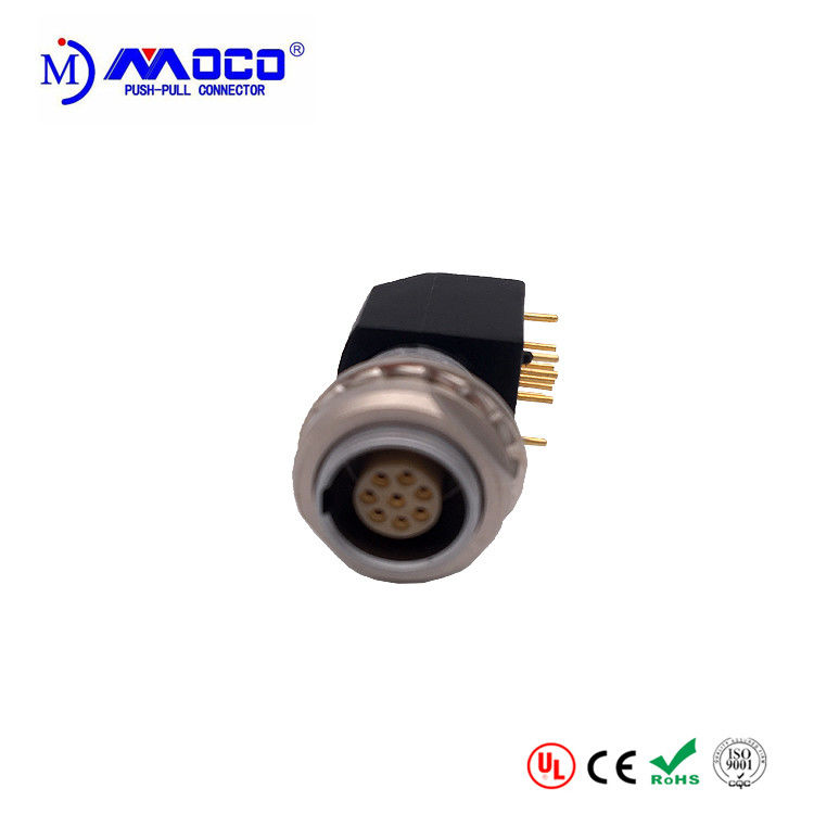 1B 8 Pins Circular Push Pull Connectors With EXG Elbow Socket For Printed Circuit